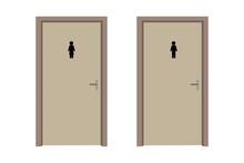 Modern Illustration With Toilet Doon. Wc Gender Symbol. Hygiene Concept. Stock Image. Vector Illustration. EPS 10.