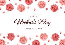 母の日 水彩 カーネーション フレーム 正方形/ Watercolor Carnation Frame For Mother's Day - Horizontal - Vector Image