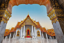 Marble Temple Entrance In Bangkok, Thailand
