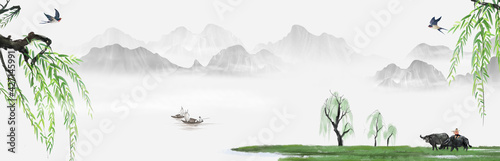 Fotografia, Obraz Landscape background illustration of Chinese style cowherd