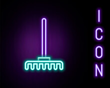 Glowing Neon Line Garden Rake Icon Isolated On Black Background. Tool For Horticulture, Agriculture, Farming. Ground Cultivator. Housekeeping Equipment. Colorful Outline Concept. Vector