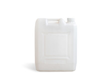 White Dirt Plastic Jerry Can Isolated On A White Background