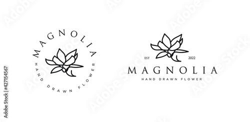 Valokuva Hand drawn vector magnolia flowers logo illustration