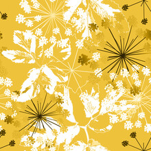 Seamless Floral Retro Pattern. White, Black Flowers And Leaves On A Dark Yellow Background.