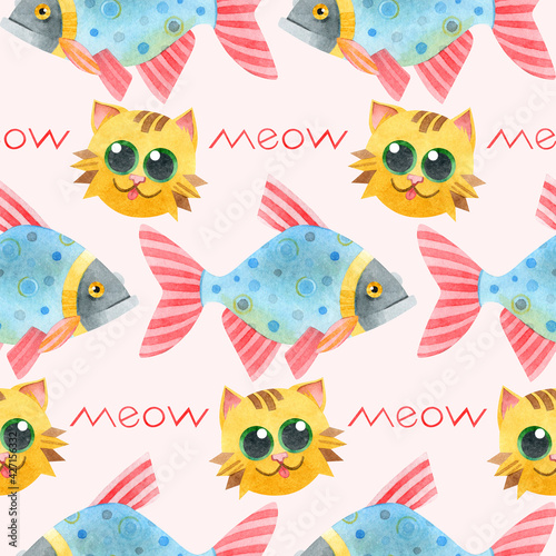 Seamless pattern with fish, cute red cats and meow lettering. Hand-drawn watercolor with illustrations of a crucian carp and a kitten on a colored background. For children's textiles, pet store.