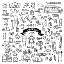 Hand Drawn Camping And Hiking Elements In Doodle Style Isolated On White Background. Outline Vector Illustration. Design For Prints, Poster, Trip, Travel Card