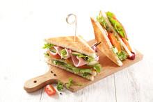 Club Sandwich On Wooden Board