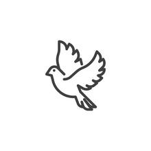 Flying Dove Line Icon