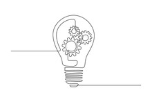 Lightbulb With Gear Wheels In One Single Line Drawing For Logo, Emblem, Web Banner, Presentation. Simple Creative Innovation Concept. Vector Illustration
