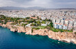 Panoramic photo of Antalya, Turkey. View from the sea to the Mediterranean coast and cityscape