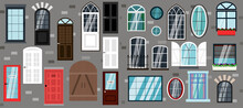 Set Of Vector Doors And Windows. Flat Illustration Of Different Types, Designs And Styles Of Door Structures. The Facade Of The Building In The Modern, Classic Style. Illustrations For The Design Of