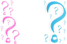 Question Marks Of Different Sizes On A White Background. Blue And Pink Question Marks.