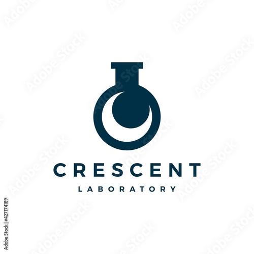 Fotografie, Obraz crescent moon laboratory labs logo vector icon illustration
