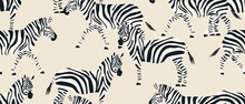 Hand Drawn Abstract Striped Zebra Pattern. Collage Contemporary Seamless Pattern. Fashionable Template For Design.