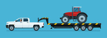 A Pickup Truck Tows A Tractor On A Trailer Isolated. Vector Flat Style Illustration.