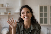 Head Shot Portrait Of Excited Smiling Woman Waving Hand, Making Video Call, Greeting Friends Or Relatives, Happy Young Female Blogger Influencer Recording Vlog, Involved In Internet Meeting