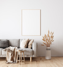 Modern Interior Design Of Living Room In Natural Colors With Dry Plants Decoration And Empty White Mock Up Picture Frame 3D Rendering, 3D Illustration