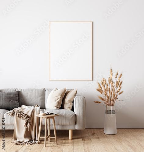 Fotografie, Obraz Modern interior design of living room in natural colors with dry plants decorati