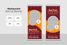 Food And Restaurant Roll Up Banner Design Template Set Vector | Fast Food & Restaurant Roll Up Banner Concept | Vertical Display Trend Roll Up And X-banner Set For Exhibitions, Banner For Hotel .