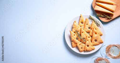 Fotografie, Obraz Parmesan savory cookies with rosemary