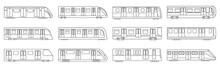 Subway Train Vector Illustration On White Background .Set Outline Icon Transport Metro.Vector Illustration Set Icon Subway Train.