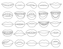 Female Lip Vector Outline Set Icon. Vector Illustration Smile On White Background. Isolated Outline Set Icon Female Lip.