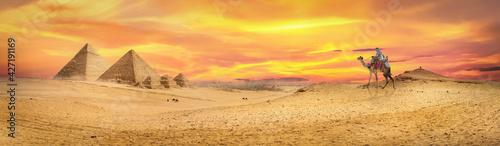 Fototapeta Colorful sunset over the pyramids obraz