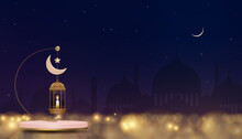 3D Podium With Traditional Islamic Lantern,Candle,Pink Gold Crescent Moon And Star With Silhouette Mosque Background, Eid Mubarak Islamic Greeting Card Design For Saudi Arabia And Muslim People.