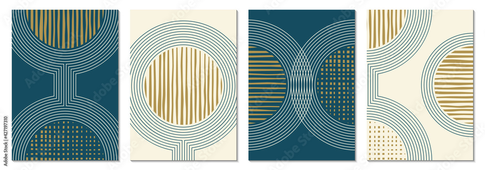 Fototapeta Abstract art background set with geometric shapes. Minimal design with circles and lines. Contemporary poster, modern graphic, trendy cover, print or wallpaper design template.
