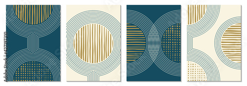 Obraz Abstract art background set with geometric shapes. Minimal design with circles and lines. Contemporary poster, modern graphic, trendy cover, print or wallpaper design template. - fototapety do salonu
