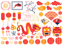 Set Traditional Chinese Symbols, Signs East, Various Colorful Elements, Cartoon Style Vector Illustration, Isolated On White.