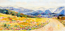 Watercolor Landscape Painting Colorful Of Mountain And Meadow.