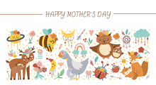 Vector Horizontal Set With Mothers Day Characters And Elements. Card Template Design With Cute Forest Baby Animals And Parents Showing Family Love. Funny Boho Style Holiday Or Celestial Border..