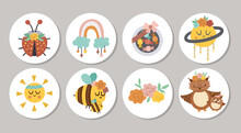 Cute Set Of Round Mothers Day Highlight Icons Or Card Designs With Cute Animals, Sweets, Flowers. Vector Spring Holiday Pin Or Badge Design Isolated On White Background With Family Love Concept.