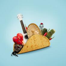 Fresh And Tasty Taco Filled With Sombrero, Ukulele, Maracas, Cactus, Drink On Blue Background.