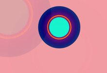 Orange And Dark Blue And Light Blue And Purple Soft Light Gradient Against A Nude Pink Background