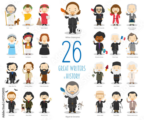 Kids Vector Characters Collection: Set of 26 great writers of History in cartoon style.