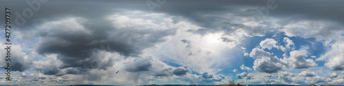 Sky panorama at noon with cumulus clouds and gulls in a seamless spherical equir Fototapeta