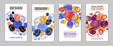 Artistic Brochures Vector Abstract Designs Set With Hand Drawn Splat Elements, Stylish Colorful Art Abstraction Covers For Magazines Or Flyers, Positive And Funny Posters Templates Collection.