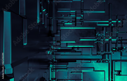 Fototapeta Abstract futuristic Technology background with construction circuit board