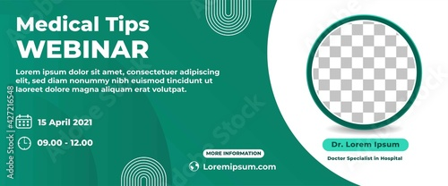 Obraz Medical webinar horizontal web banner design template. Modern banner with green background color and place for the photo. - fototapety do salonu