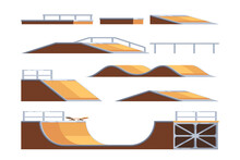Set Of Skate Park Ramps. Construction Equipment For The Extreme Sports Area. Vector Illustration In Flat Style Isolated On White Background