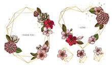 Golden Frame With Hibiscus, Plum Flowers, Peach Flowers, Sakura Flowers, Magnolia Flowers, Camellia Japonica