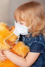 New Normal Family, Baby Toddler Blue Denim Dress Medical Mask, Kissing A Stuffed Toy Monkey