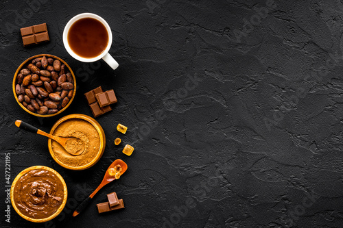 Fotografie, Obraz Background with assorted coffee and cocoa - beans with powder and hot drink