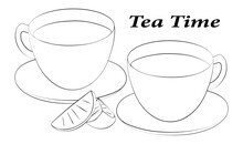 A Linear Drawing Of A Tea Party. Lemon Slices, Still Life Of Two Cups And Saucers. The Mugs Are Filled With Tea. Black And White. Illustration