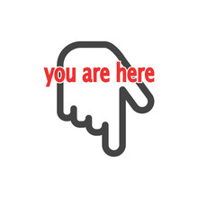 Vector Position Icon. You Are Here On White Isolated Background.