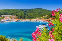 Kefalonia Island, Greece. Panoramic View Of The Fiskardo Village And Port.