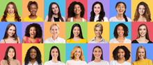 Composite Creative Collage Of Happy Diverse Multicultural Women