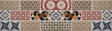 Colorful Vintage Retro Geometric Square Mosaic Motif Cement Tiles Texture Background Banner Panorama.